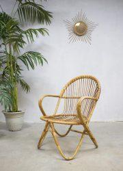 Rohe vintage rotan lounge stoel, vintage rattan chair