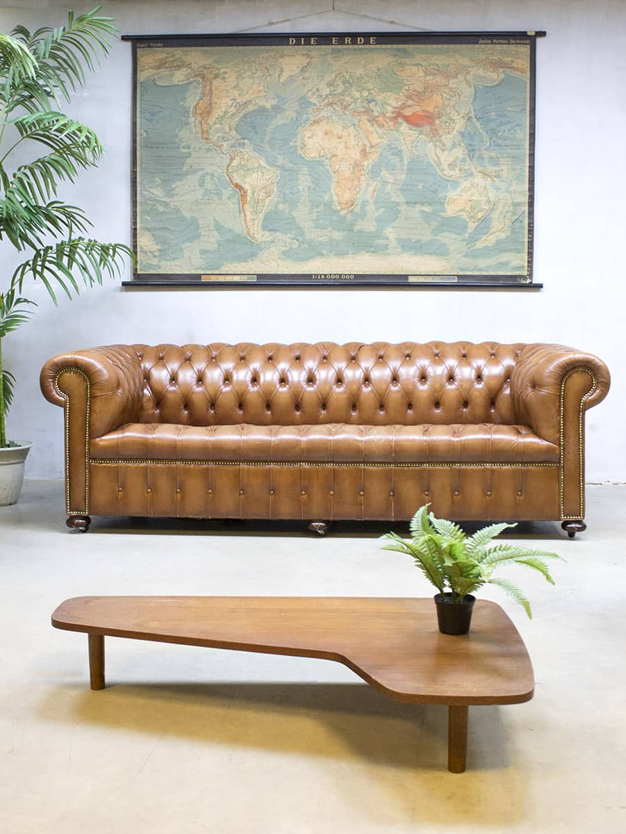 Camel Leren Bank.Vintage Leather Chesterfield Vintage Leren Lounge Bank Xl