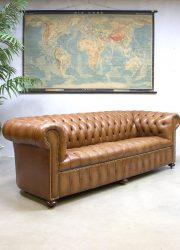 Vintage leren camel chesterfield bank sofa sixties seventies