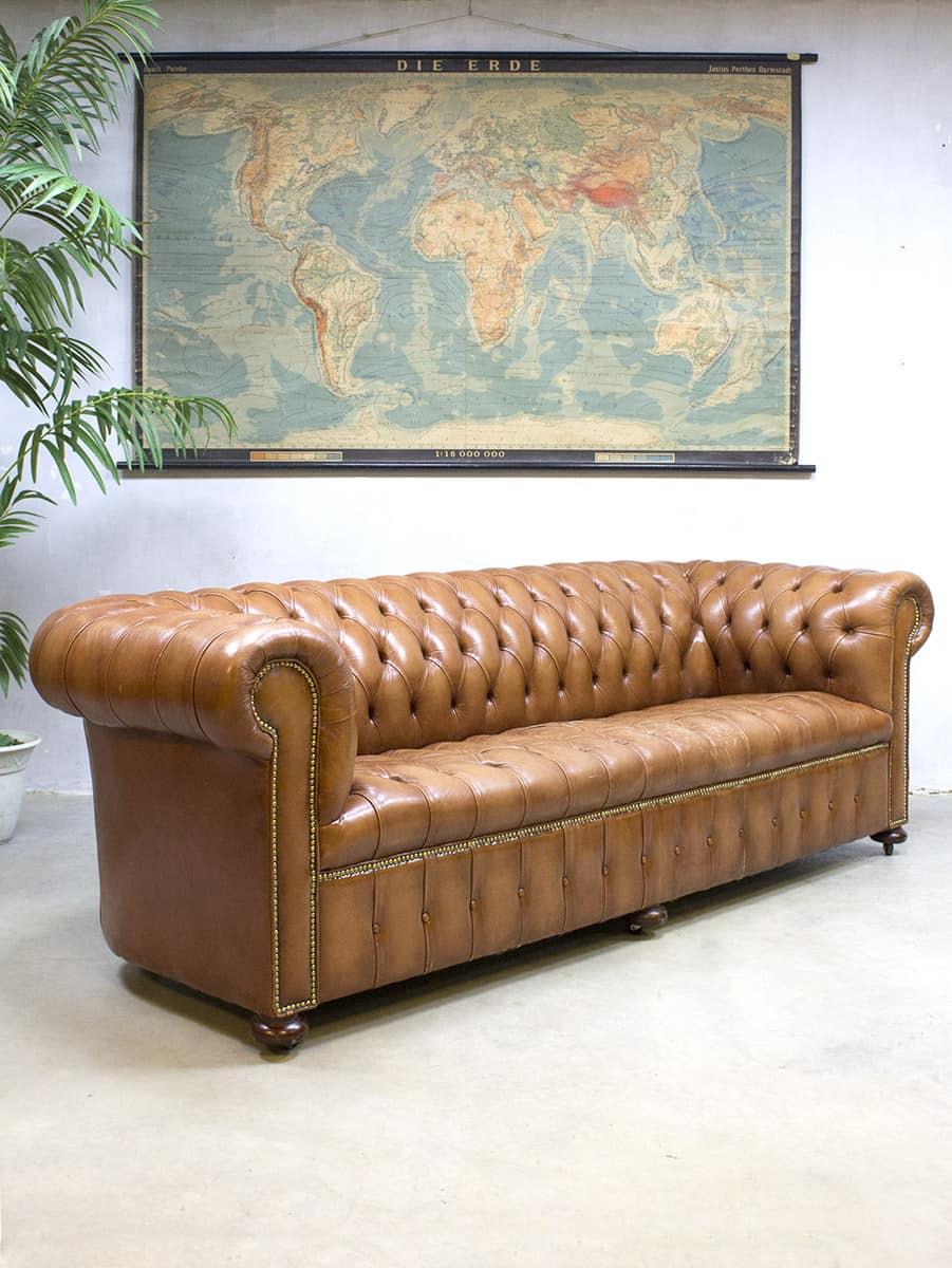 vintage leather chesterfield vintage leren lounge bank xl. Black Bedroom Furniture Sets. Home Design Ideas