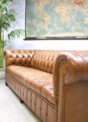 vintage leren chesterfield lounge bank jaren 60 70