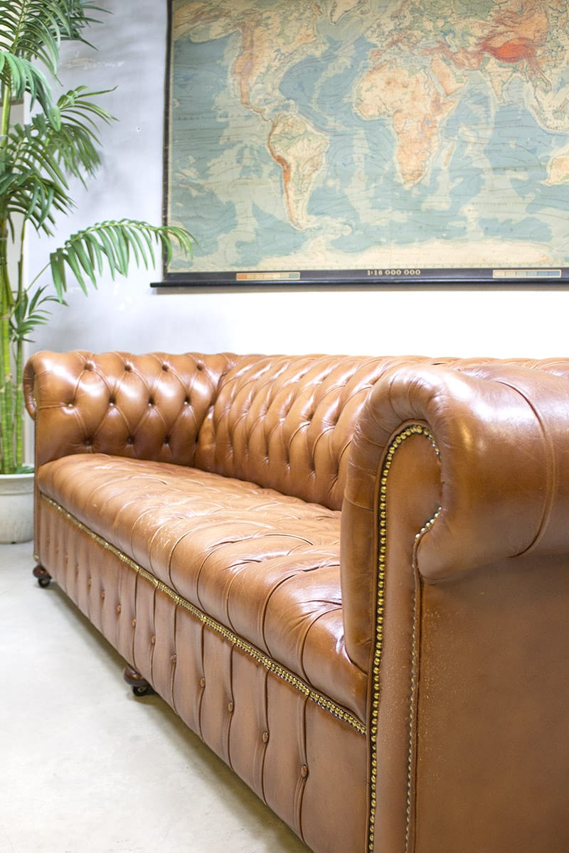 Leren Chesterfield Bank.Vintage Leather Chesterfield Vintage Leren Lounge Bank Xl