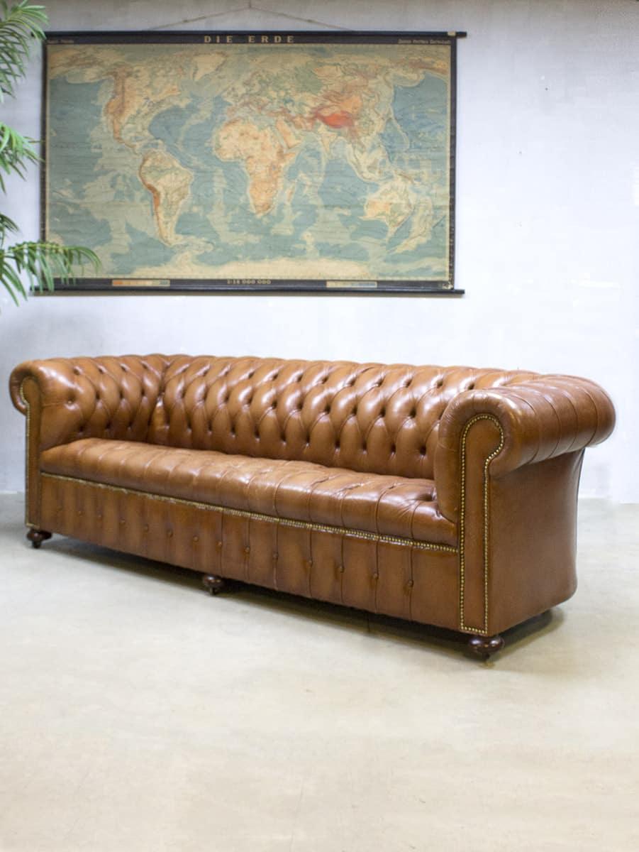 Leren Klassieke Bank.Vintage Leather Chesterfield Vintage Leren Lounge Bank Xl