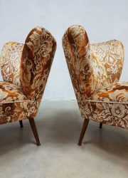 vintage velvet cocktail chairs flock print fifties sixties
