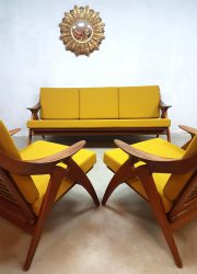 Vintage design lounge set bank sofa & arm chairs de Ster Gelderland