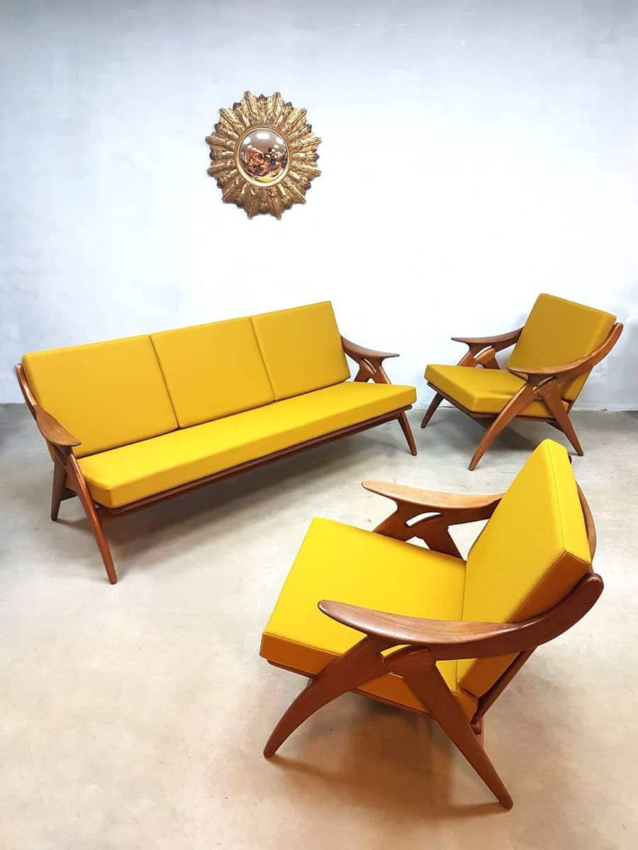 Vintage design lounge set bank sofa arm chairs de ster gelderland - Lounge warme kleur ...