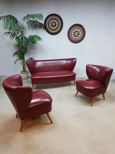 Vintage fifties cocktail stoel chair bank sofa lounge set