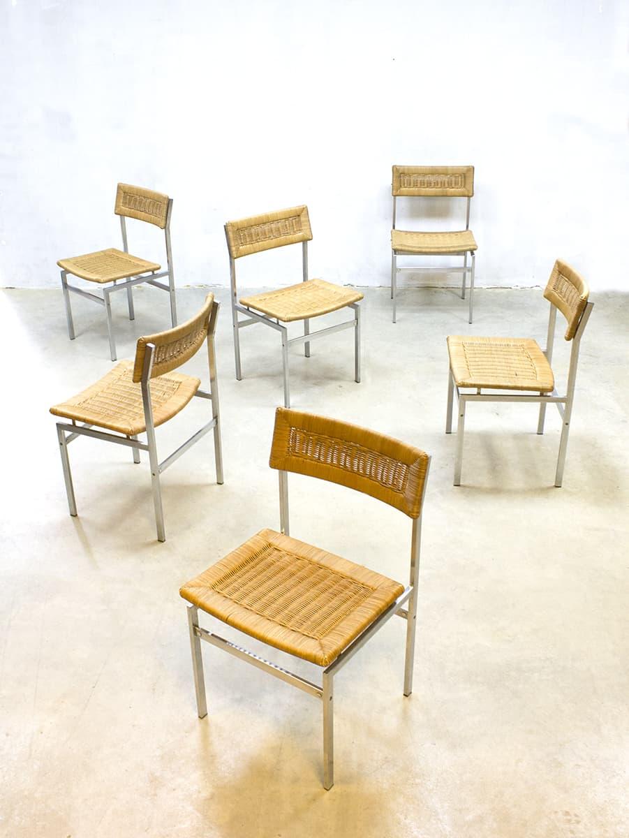 Eetkamer Stoelen Met Rieten Zitting.Midcentury Vintage Design Rattan Dinner Chairs Eetkamer Stoelen Rotan