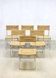 vintage rattan dinner chair eetkamerstoel rotan chromen frame retro