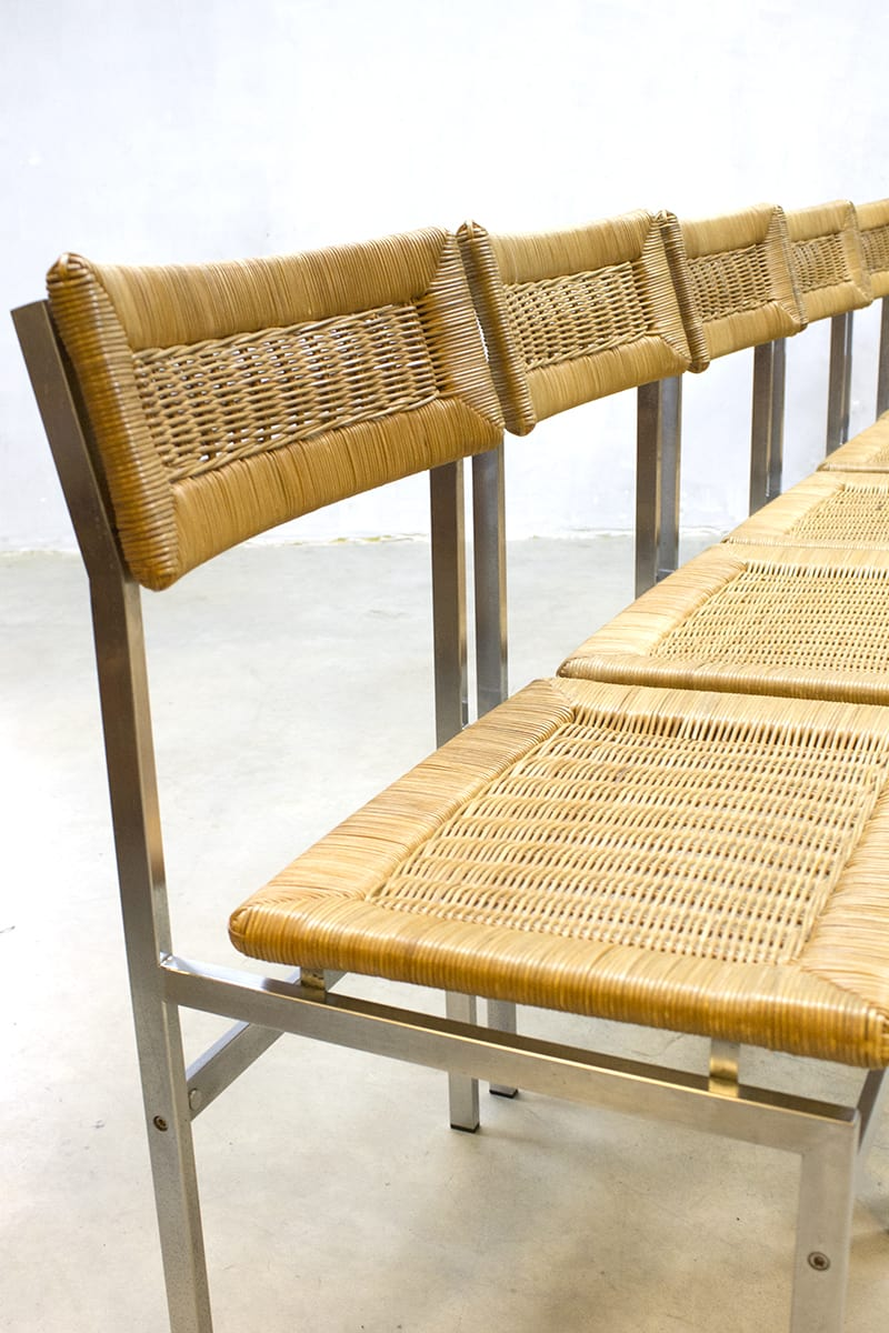 midcentury vintage design rattan dinner chairs eetkamer stoelen rotan. Black Bedroom Furniture Sets. Home Design Ideas