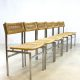 Midcentury vintage design rattan dinner chairs, eetkamer stoelen rotan