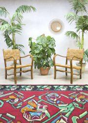 Vintage rattan rope armchair Scandinavian design touw stoel