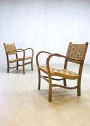 vintage rope chair Bas van der Pelt lounge armchair rotan stoel