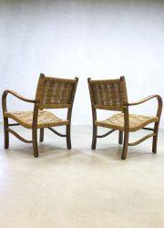 vintage rope chair rattan Scandinavian design Danish minimalism lounge chairs