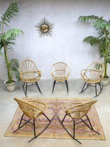 Vintage rocking chairs rattan Rohe Noordwolde rotan schommelstoel