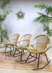 rattan Rohe Noordwolde garden interior rocking chair set vintage midcentury