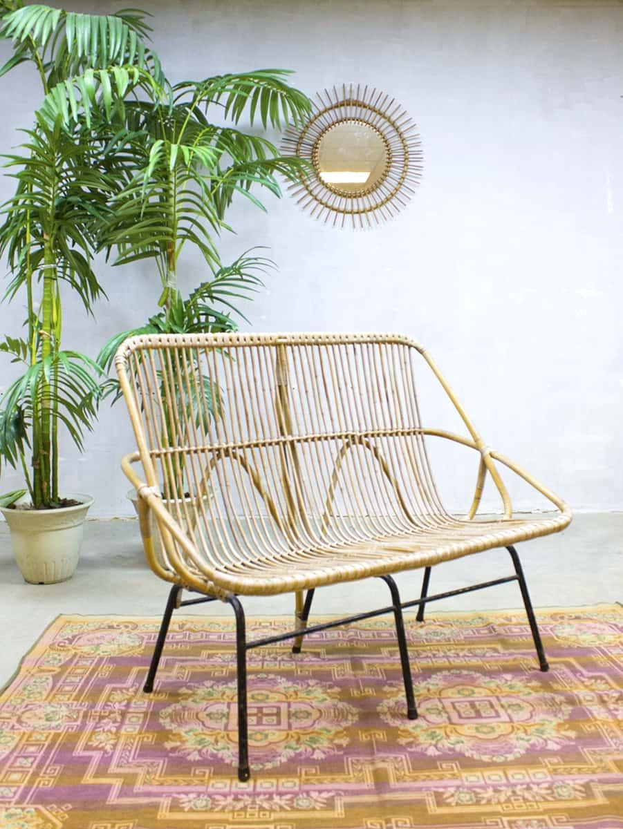 Rare vintage design rotan rattan lounge bank sofa rohe noordwolde - Rotanbank plaatsen ...