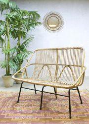 Rare vintage design rotan rattan lounge bank sofa Rohe Noordwolde