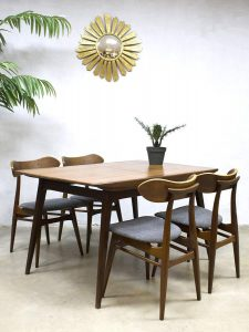 Wébé vintage dutch design mid century dining set dinner table eetkamer tafel Louis van Teeffelen stoelen chairs