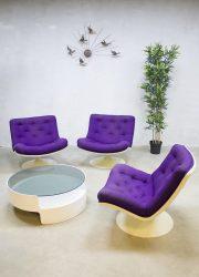 Vintage Artifort F978 Geoffrey Harcourt swivel chairs draaifauteuils