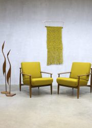 Midcentury Danish design lounge chairs, vintage Deense lounge fauteuils
