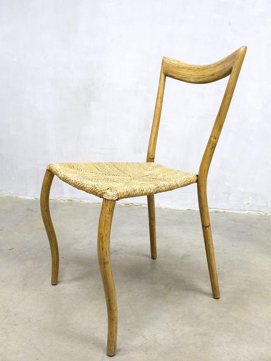 Vintage bamboo dinner chairs midcentury modern bamboe for Dutch design eetkamerstoelen
