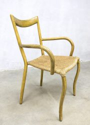 Vintage bamboo dinner chair midcentury modern cord seat bamboe eetkamerstoel