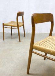 Deense vintage design eetkamer stoelen chairs chair stoel Niels O Moller