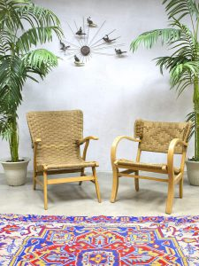 Vintage rope wingback chairs touw stoel oorfauteuil