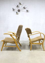 Bas van Pelt Vroom & Dreesman V&D dutch design vintage wingback chairs lounge chairs touwstoel
