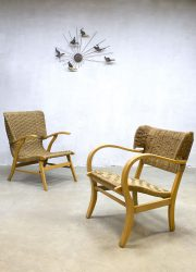 mid century lounge chair rope wingback chair dutch design Bas van Pelt V&D vintage