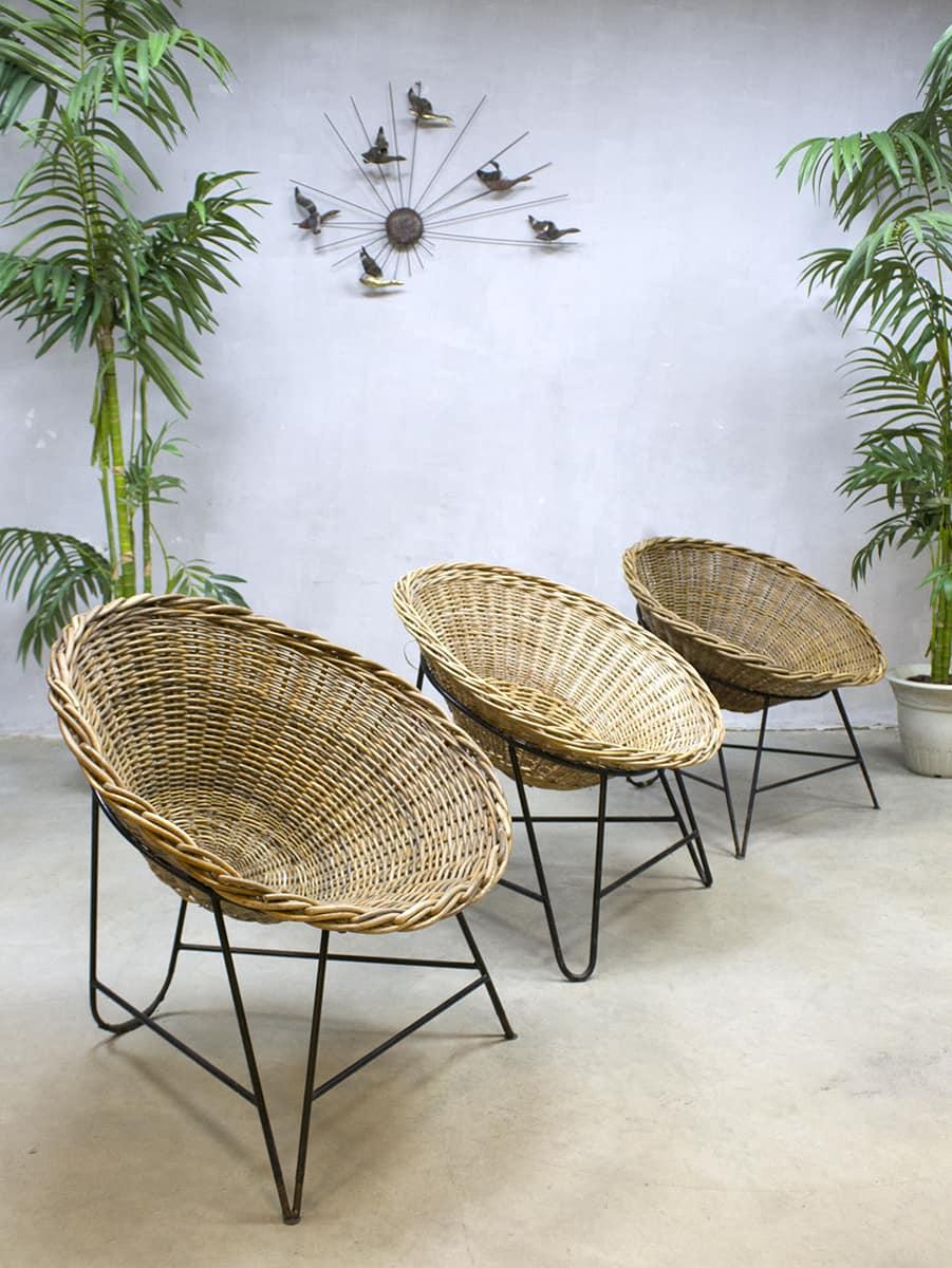 Vintage kuipstoel ddr duitsland wicker chair rattan rotan for Korbsessel design
