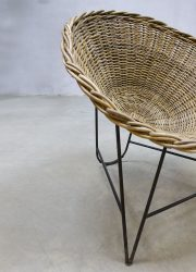 fifties vintage design kuipstoel wicker chair DDR germany