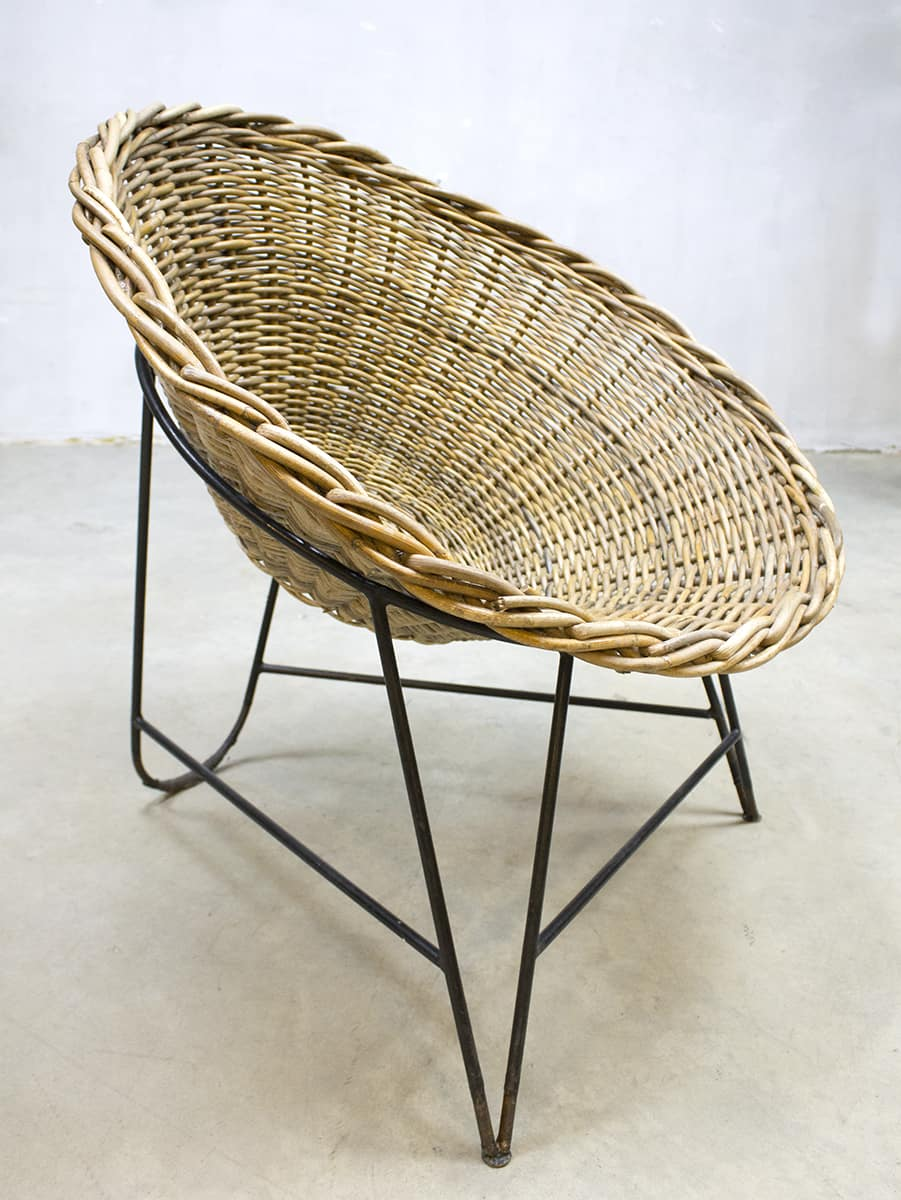 vintage ddr korbsessel rattan basket chair rotan kuipstoel. Black Bedroom Furniture Sets. Home Design Ideas
