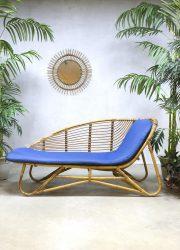 vintage dutch design rattan chaise longue lounge sofa lounge bank Rohe Noordwolde