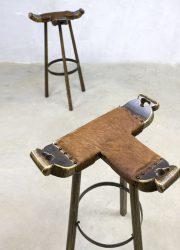 retro vintage Spaanse kruk barkruk, vintage Spanish barstool loft horeca