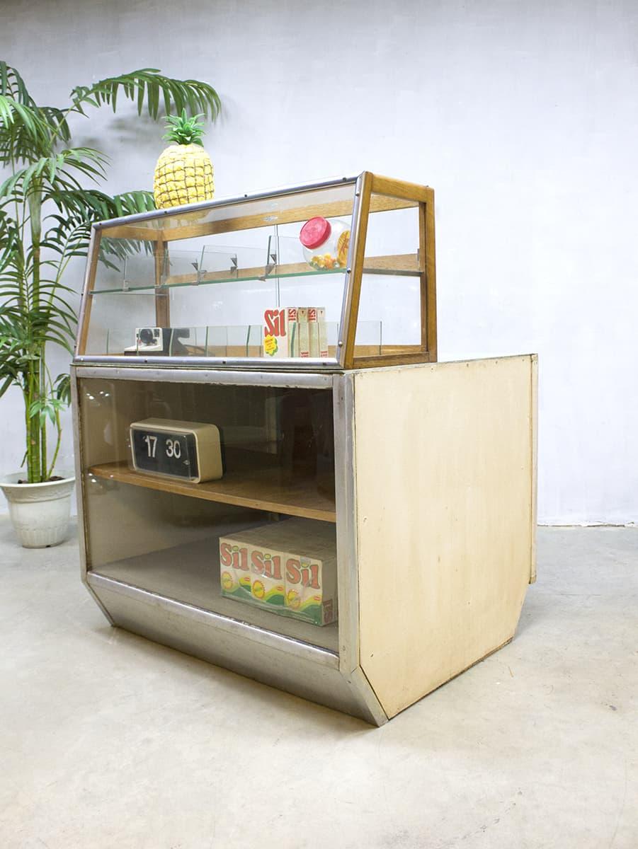 Vitrinekast Voor Op Toonbank.Vintage Toonbank Balie Winkelvitrine Industrieel Counter Industrial