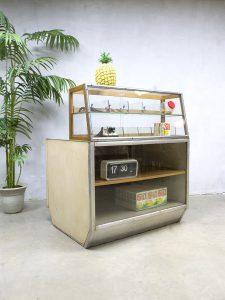 Vintage toonbank balie winkelvitrine industrieel, counter industrial
