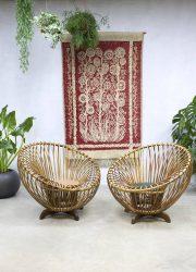 Vintage Rohe rattan lounge chairs Franco Albini style rotan fauteuils