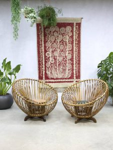 Vintage Rohe rattan lounge chairs Franco Albini style rotan fauteuils