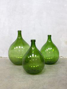Vintage Demijohn wine bottles Dame Jeanne groene gistfles