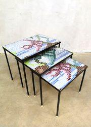 Vintage tile nesting tables mimiset graphic print mozaïek bijzettafeltjes