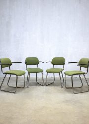 Vintage design office chairs buisframe stoelen Gispen 212 stijl