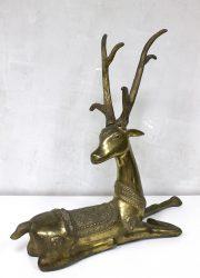 brass sculpture bronze deer vintage koper hert beeld
