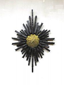 Vintage brutalist Iron Sunburst wall clock vintage zonneklok