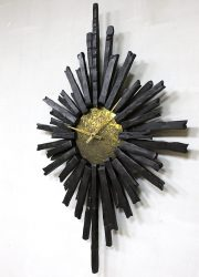 metal brutalism wall clock vintage design