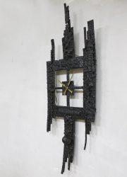 iron brutalist clock vintage mid century design klok