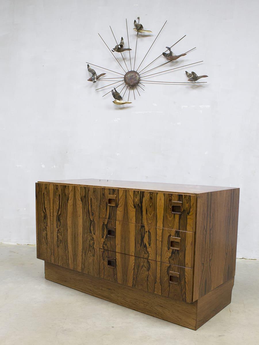 Vintage cabinet chest of drawers rosewood ladekast zebrano - Etnische pouf ...