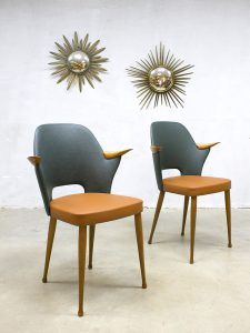 Vintage Dutch design dinner chairs Stevens eetkamerstoelen
