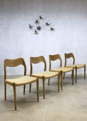 Vintage Deens design Niels O. Møller dinner chairs eetkamerstoelen no.71